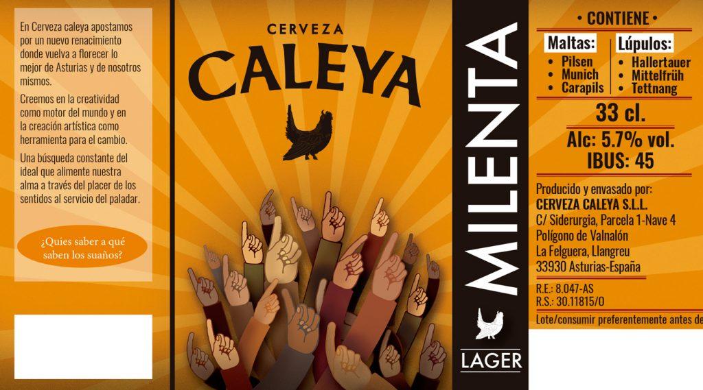 etiqueta cerveza milenta de caleya